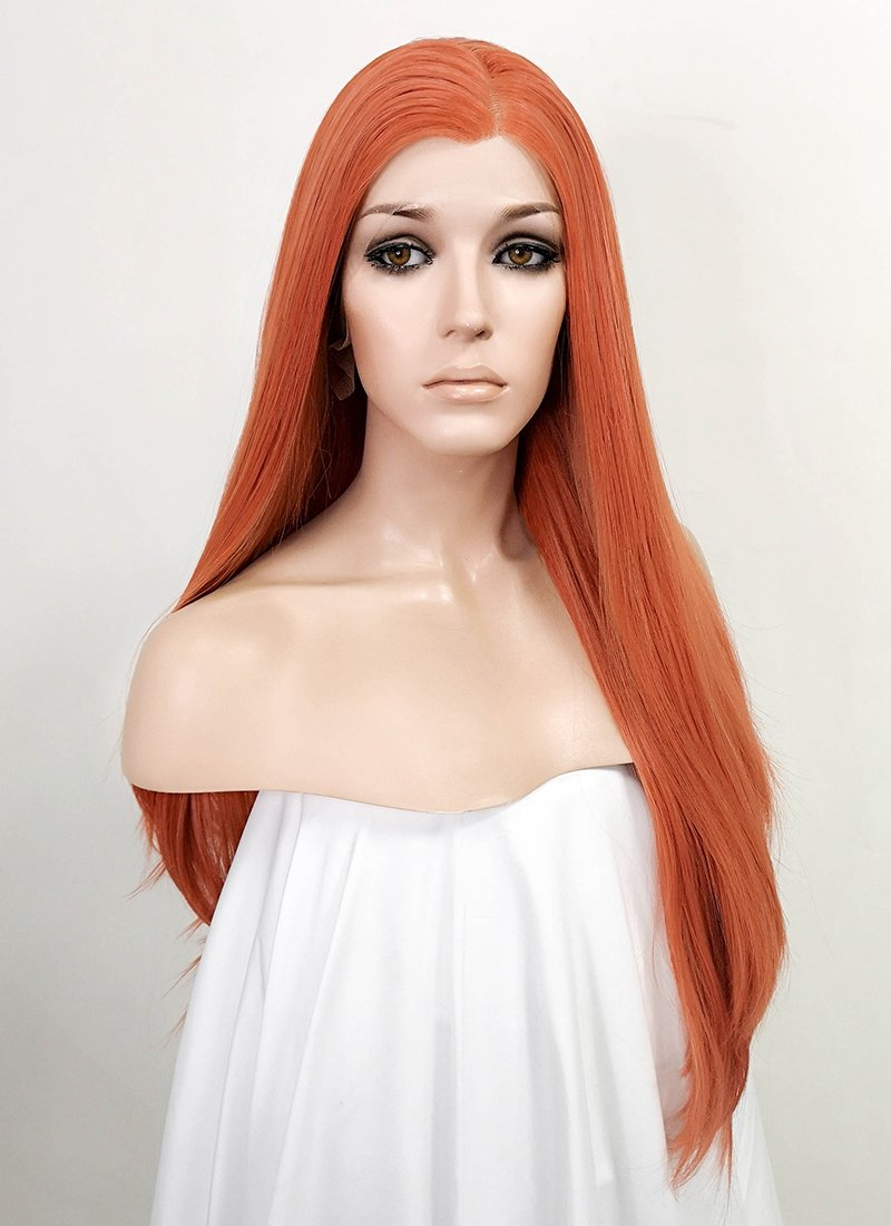Orange Straight Lace Front Synthetic Wig LF3176