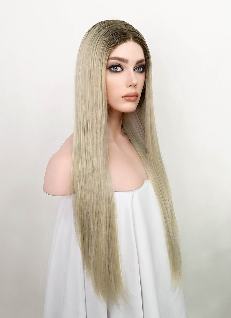 Ash Blonde With Dark Roots Straight Lace Front Synthetic Wig LF3192