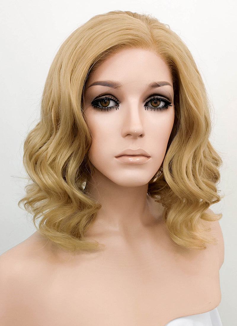 Medium Blonde Wavy Bob Lace Front Synthetic Wig LF326 - Wig Is Fashion