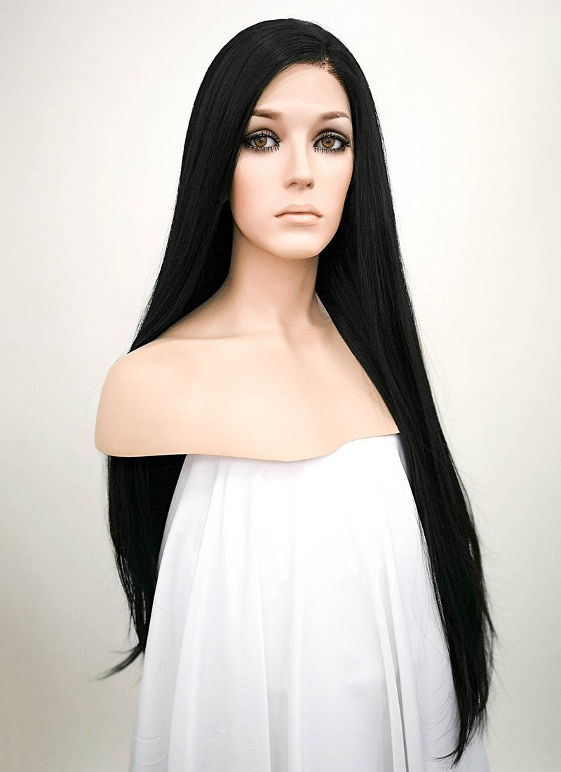 Straight Jet Black Lace Wig CLF327 (Customisable) - Wig Is Fashion