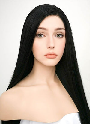 Straight Jet Black Lace Front Synthetic Wig LF327 - Wig Is Fashion