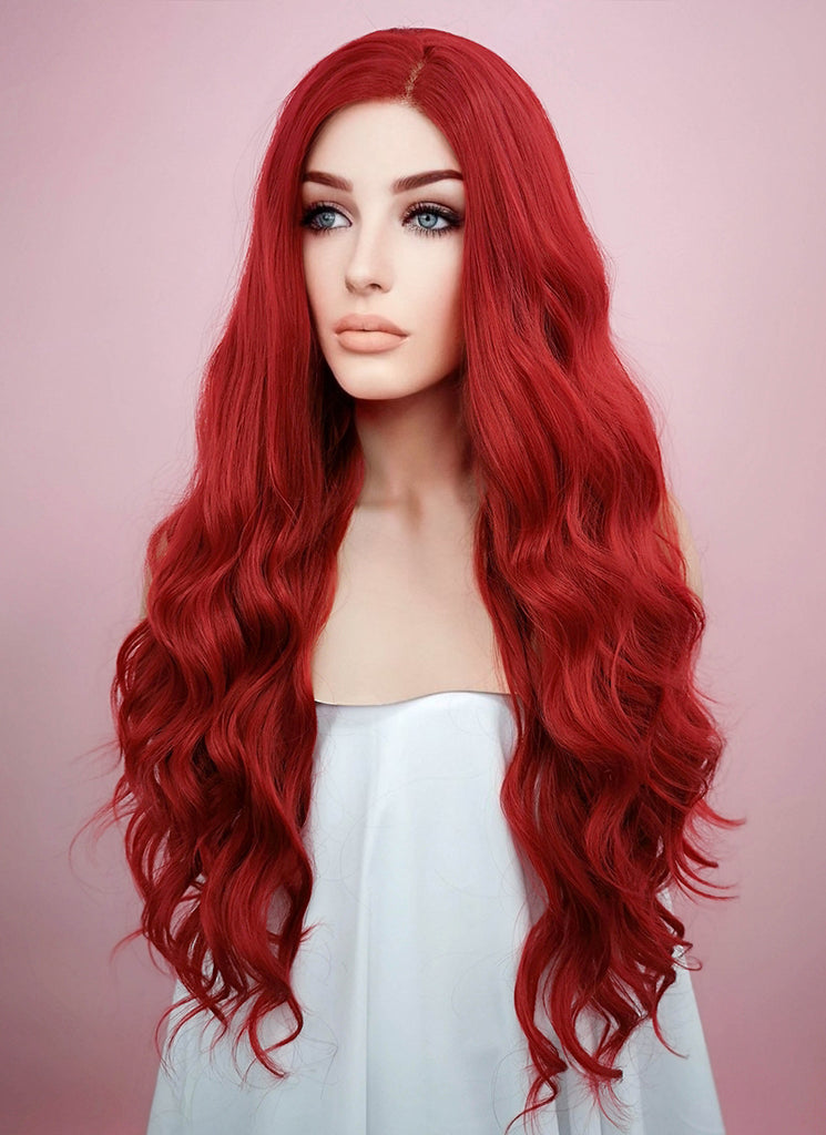 "24"" Wavy Red Lace Front Synthetic Wig LF355 - Wig Is Fashion"
