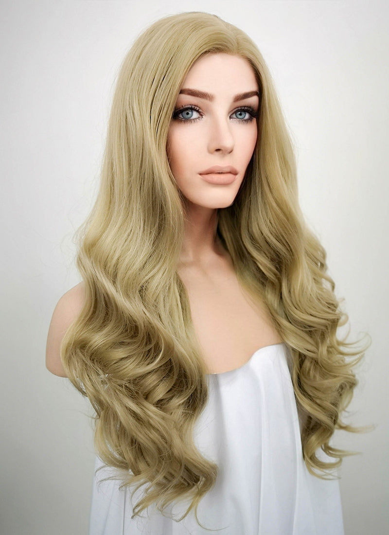 Wavy Ash Blonde Lace Front Synthetic Wig LF373 - Wig Is Fashion