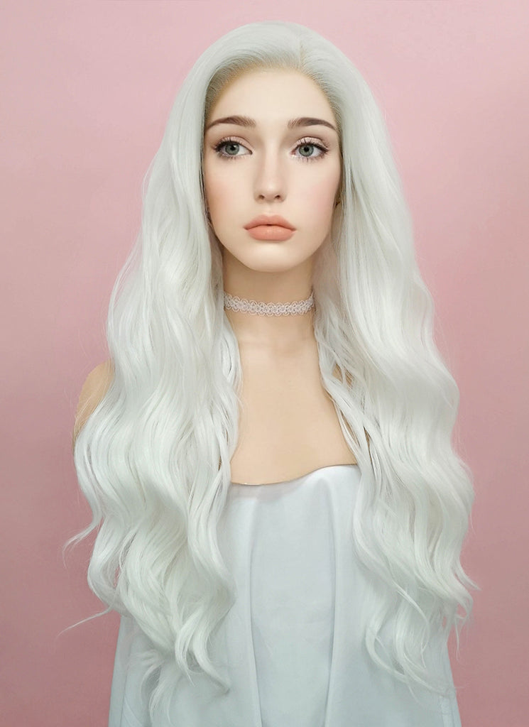 "24"" Wavy White Lace Front Synthetic Wig LF388 - Wig Is Fashion"