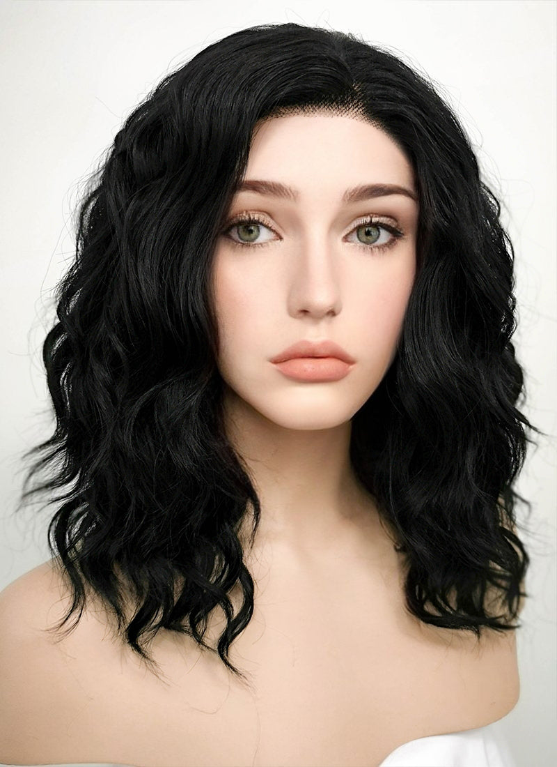 Black Wavy Bob Lace Front Synthetic Wig LF406 - Wig Is Fashion