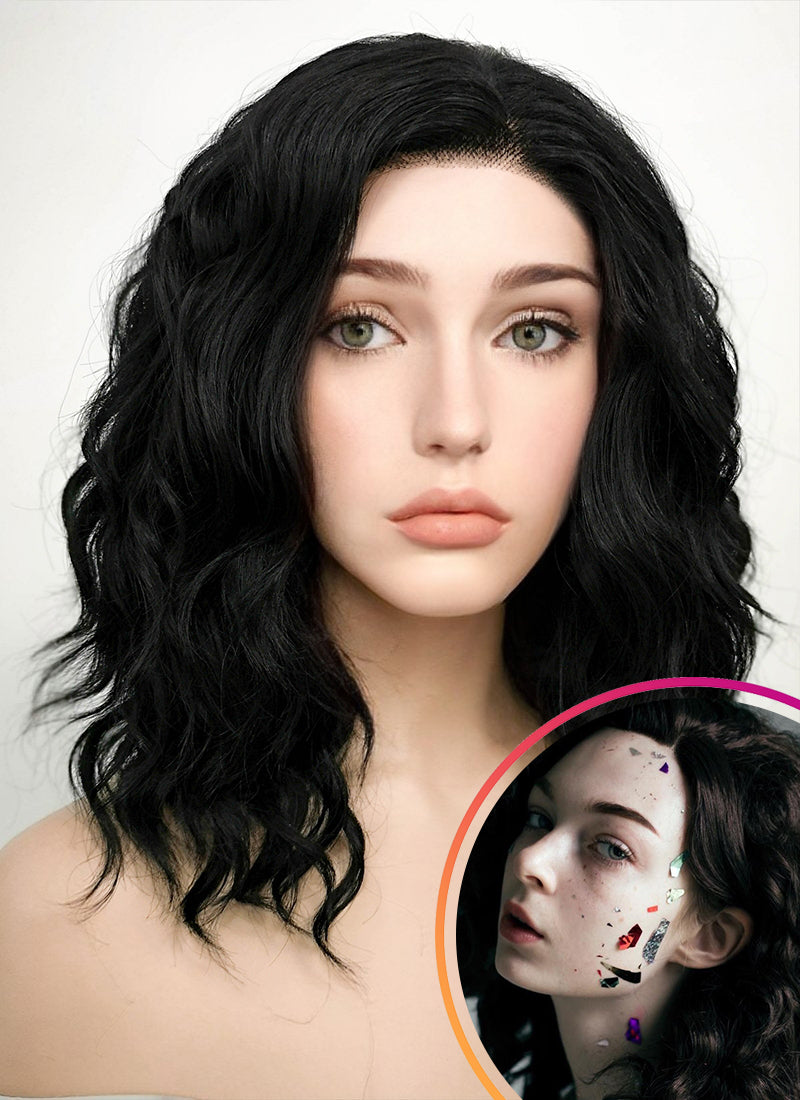 Black Wavy Bob Lace Front Synthetic Wig LF406