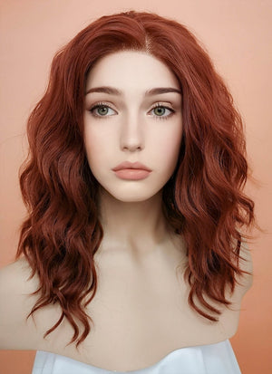 Auburn Wavy Bob Lace Front Synthetic Wig LF409 - Wig Is Fashion