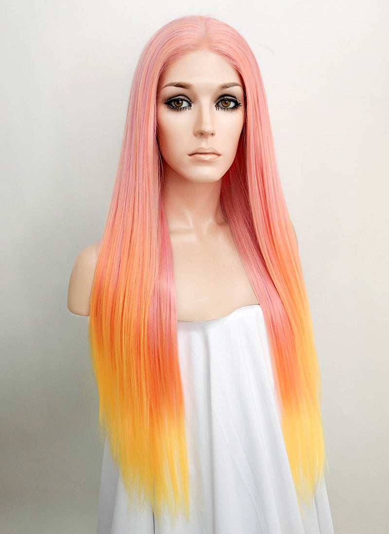 Pink Orange Ombre Straight Lace Front Synthetic Wig LF5010