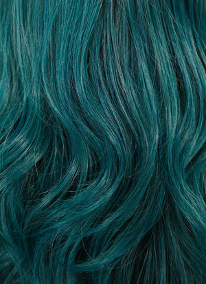 Dark Turquoise Blue With Dark Roots Wavy Bob Lace Front Synthetic Wig LF5019