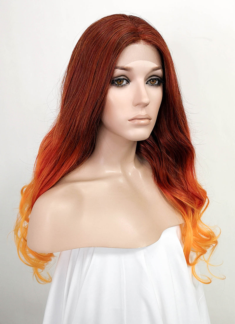 Red Orange Ombre Wavy Lace Front Synthetic Wig LF5035