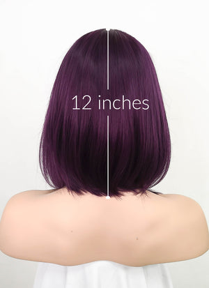 Two Tone Purple Straight Bob Lace Front Synthetic Wig LF5051