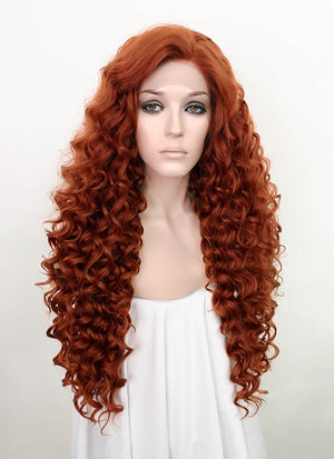 Auburn Curly Lace Front Synthetic Wig LF5055