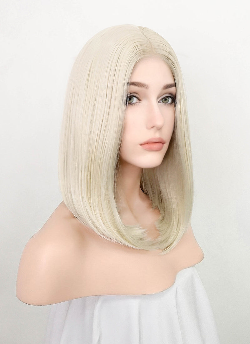 Platinum Blonde Straight Bob Lace Front Synthetic Wig LF5060
