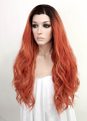 Reddish Orange With Dark Roots Wavy Lace Front Synthetic Wig LF518