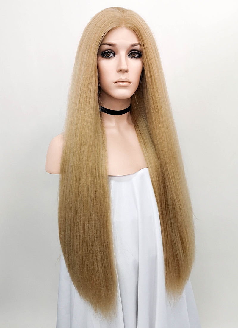 Golden Blonde Straight Yaki Lace Front Synthetic Wig LF624P