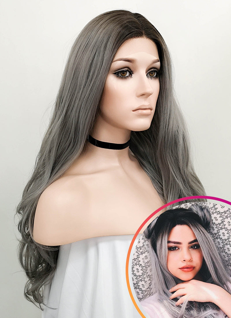 Wavy Grey With Dark Roots Lace Front Synthetic Wig LF697F
