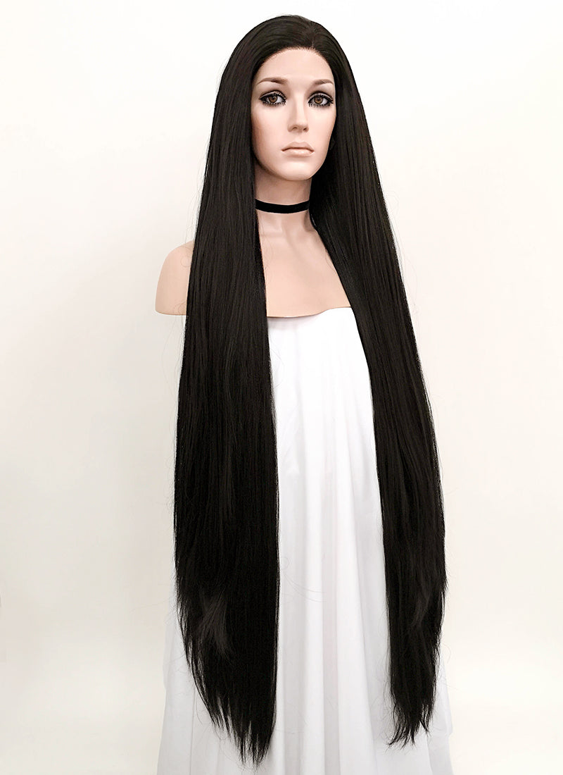 Straight Yaki Natural Black Lace Front Synthetic Wig LF701A - Wig Is Fashion