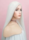 Straight Yaki White Lace Front Synthetic Wig LF701B - Wig Is Fashion