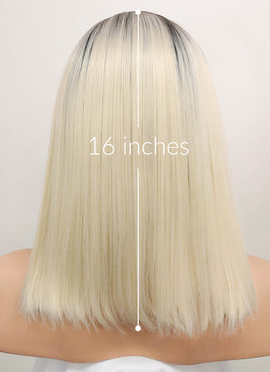 Light Blonde With Dark Roots Straight Bob Lace Front Synthetic Wig LF770A - Wig Is Fashion