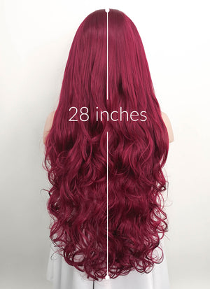 Wavy Reddish Purple Lace Front Synthetic Wig LF814 - Wig Is Fashion