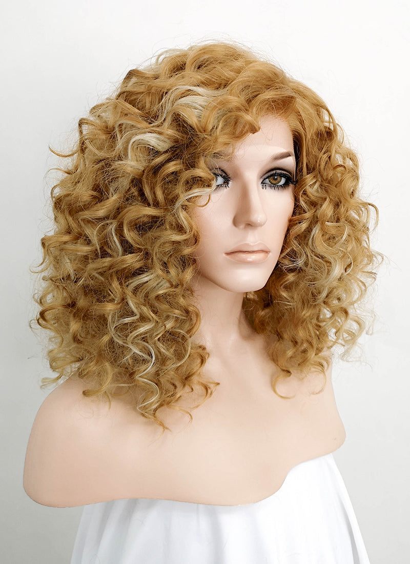 Mixed Blonde Shaggy Curly Bob Lace Front Synthetic Wig LF817F - Wig Is Fashion