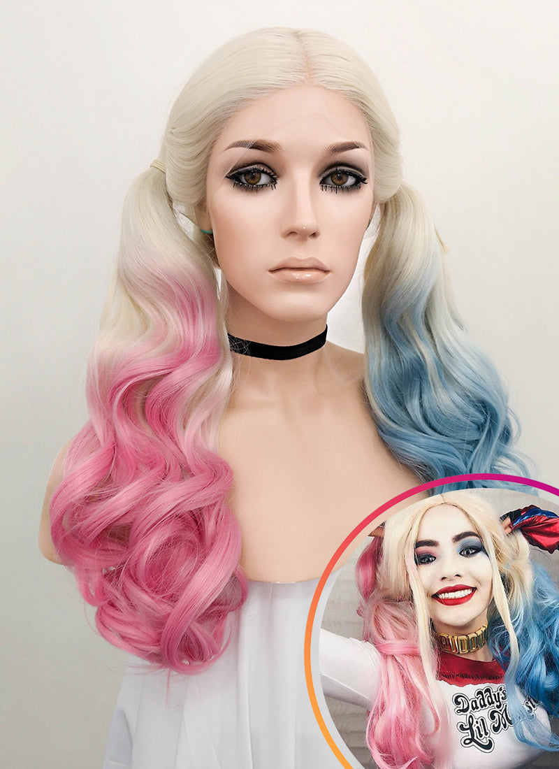 Long Curly Blonde Pink Blue Mixed Harley Quinn Synthetic Wig