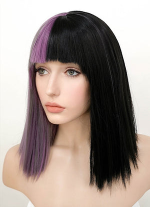 Grey Mixed Purple Black Split Color Straight Bob Lace Front Synthetic Wig LF869A