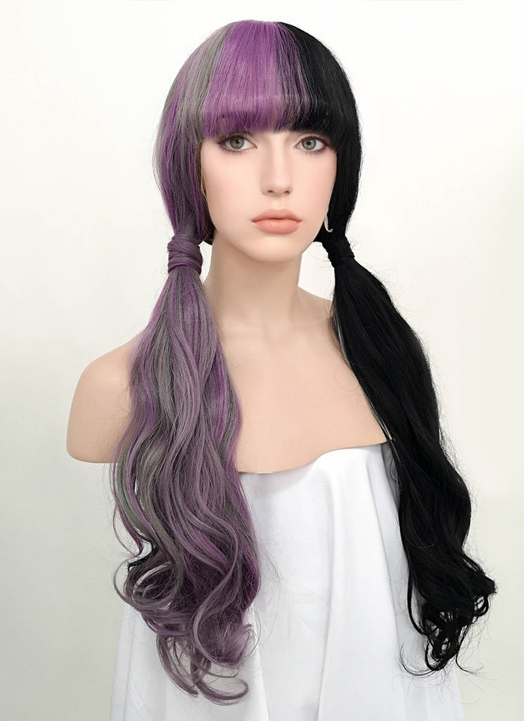 "24"" Long Curly Purple Grey Black Mixed Customizable Made-To-Order Lace Front Synthetic Hair Wig LF869"