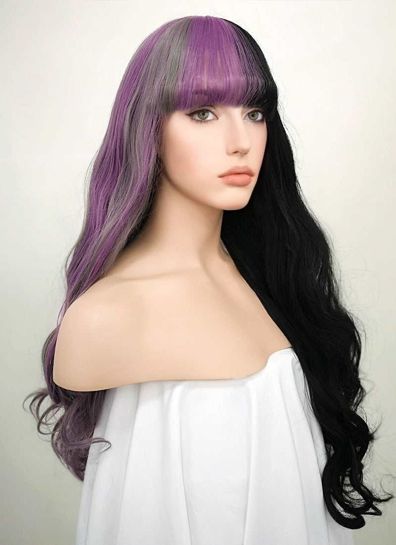Grey Mixed Purple Black Split Color Wavy Lace Front Synthetic Wig LF869 - Wig Is Fashion