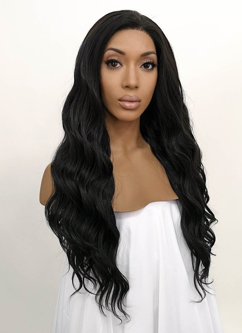 Wavy Natural Black Lace Front Synthetic Wig LFB095 - Wig Is Fashion
