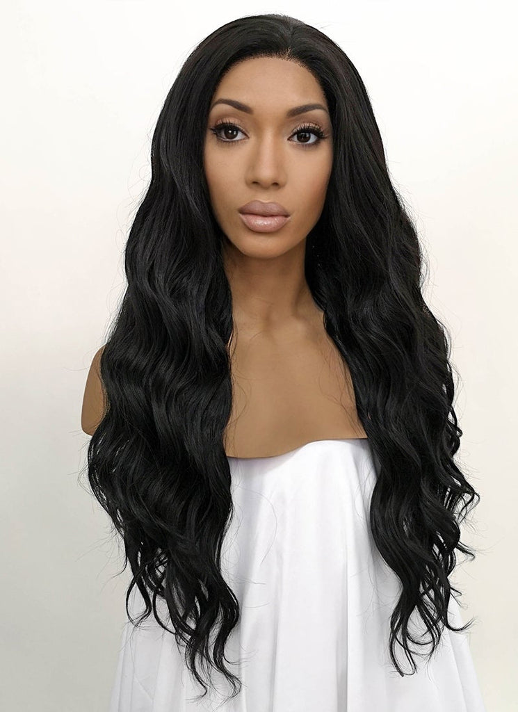 "24"" Wavy Natural Black Lace Front Synthetic Wig LFB095 - Wig Is Fashion"
