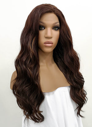 Brunette Wavy Lace Front Synthetic Wig LFB105 - Wig Is Fashion