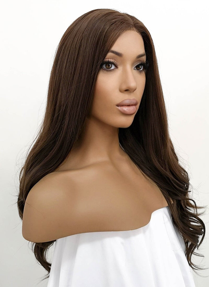Brunette Wavy Lace Front Synthetic Wig LFB117 - Wig Is Fashion