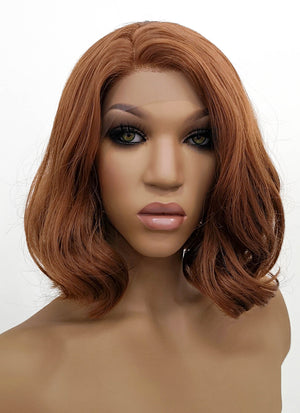 Chestnut Brown Wavy Bob Lace Front Synthetic Wig LFB1537B - Wig Is Fashion