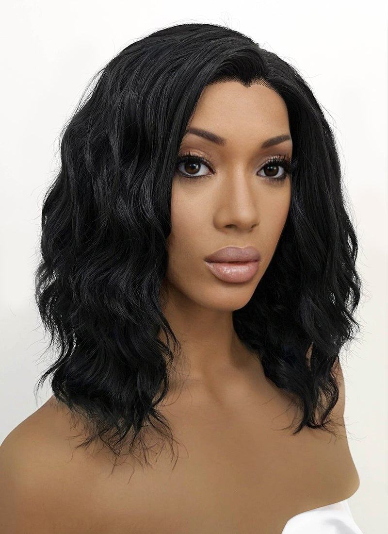Black Wavy Bob Lace Front Synthetic Wig LFB406 - Wig Is Fashion