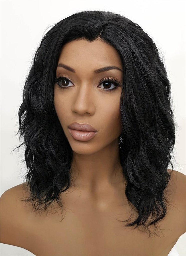 "14"" Medium Curly Black Lace Front Synthetic Hair Wig LFB406"