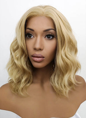 Blonde Wavy Bob Lace Front Synthetic Wig LFB418 - Wig Is Fashion