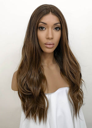 Two Tone Brunette Wavy Lace Front Synthetic Wig LFB7001
