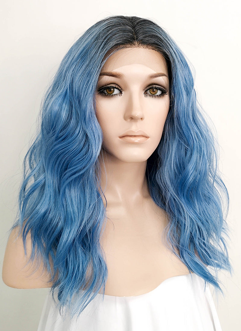 Blue With Dark Roots Wavy Lace Front Synthetic Wig LFK5502