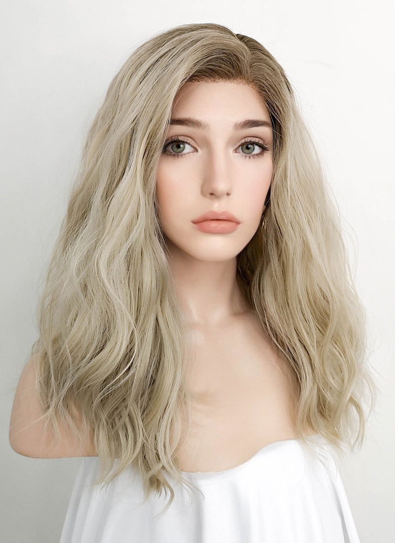 Ash Blonde With Brown Roots Wavy Lace Front Synthetic Wig LFK5503