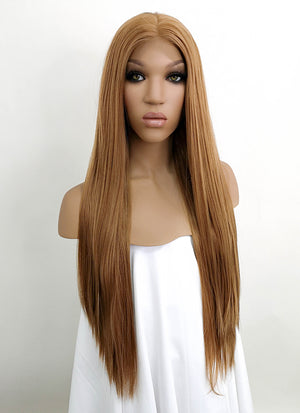 "Light Brown Straight 13"" x 6"" Lace Front Synthetic Wig LFKB5509"