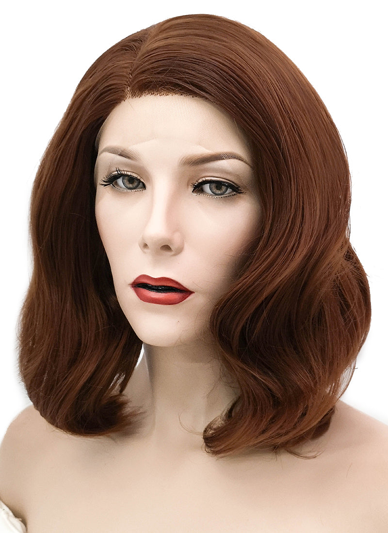 Chestnut Brown Wavy Bob Lace Front Synthetic Wig LF1537B - Wig Is Fashion