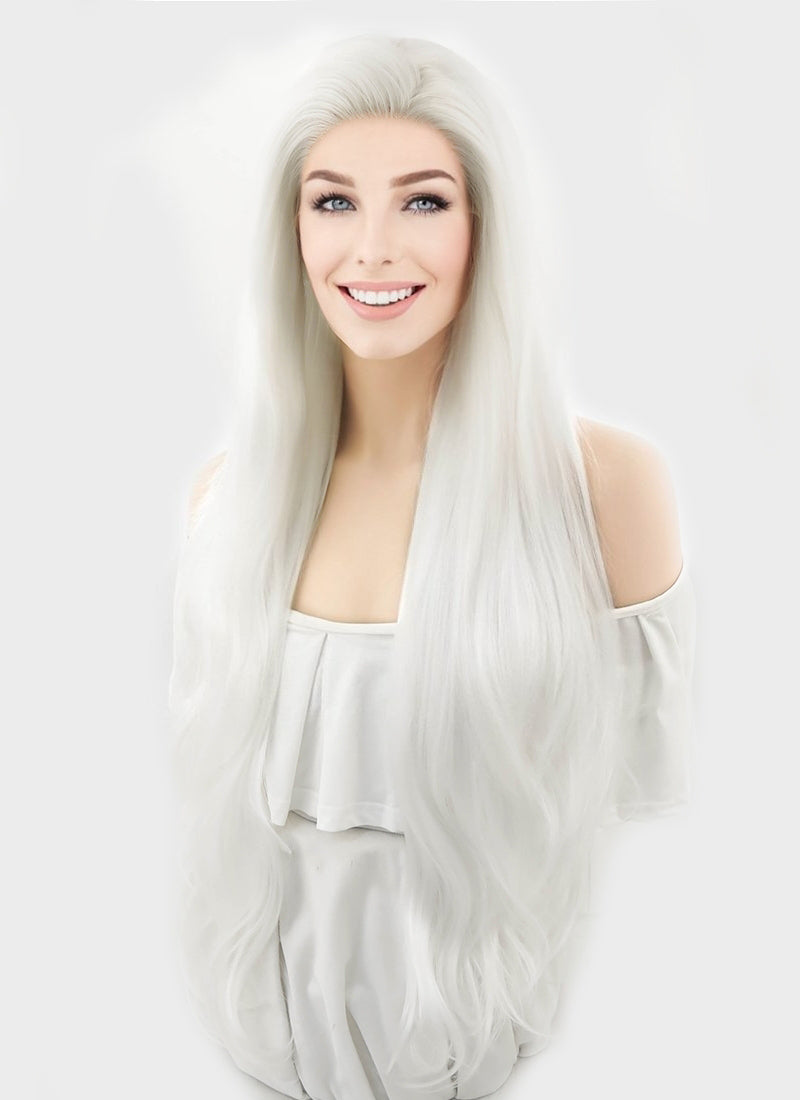 Wavy Platinum White Lace Front Synthetic Wig LF640H - Wig Is Fashion
