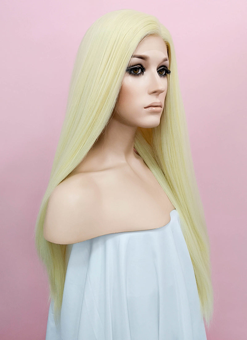 Light Blonde Straight  Yaki Lace Front Synthetic Wig LN6000A - Wig Is Fashion