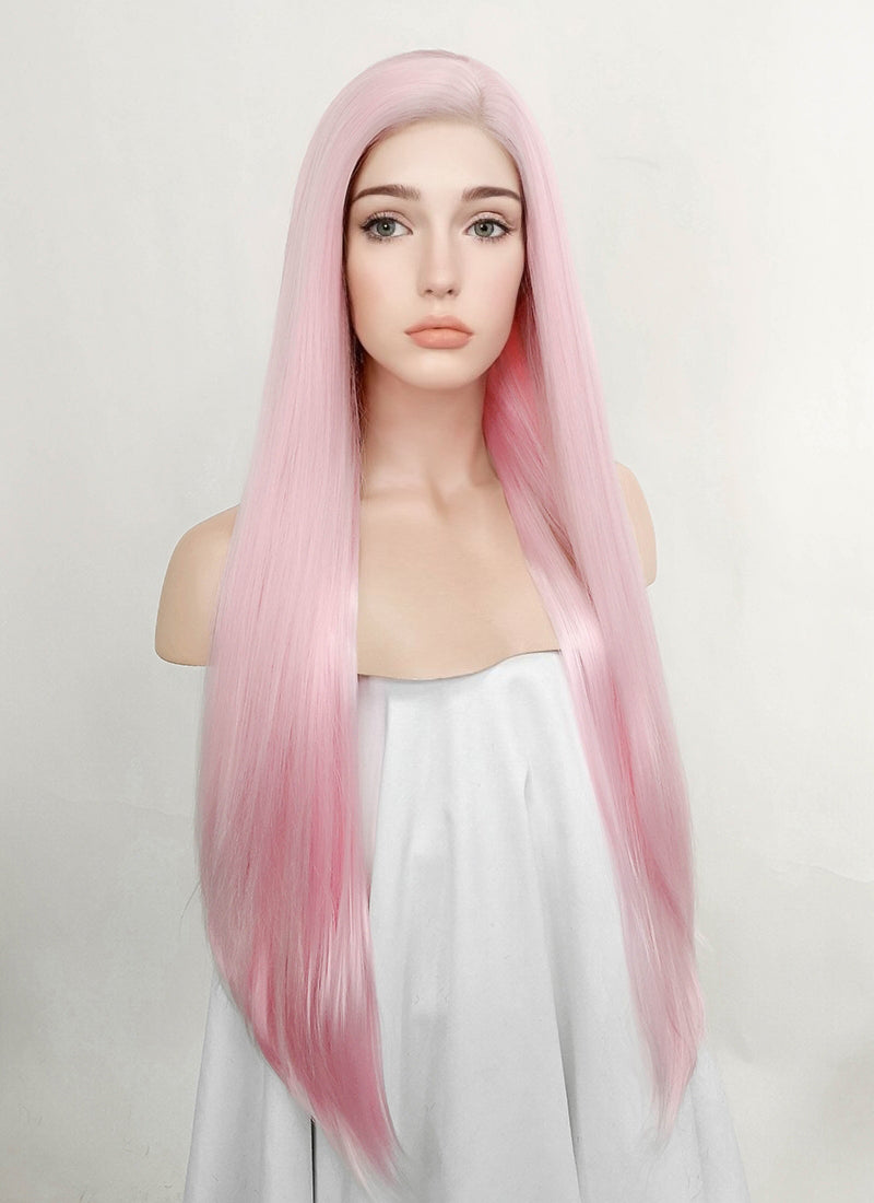 Pastel Pink Straight Lace Front Synthetic Wig LN6013