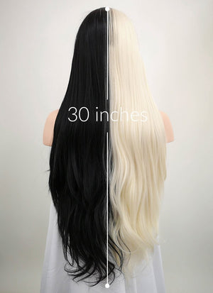 Straight Light Blonde Black Split Color Lace Wig CLW1531 (Customisable) - Wig Is Fashion