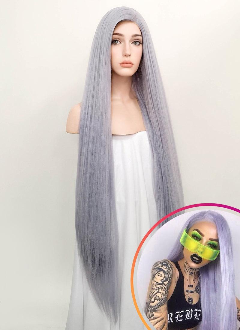 Pastel Lilac Straight Yaki Lace Front Synthetic Wig LF701D
