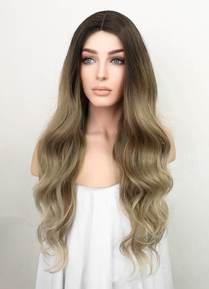 Tone Tone Brown With Dark Roots Wavy Synthetic Wig NL002
