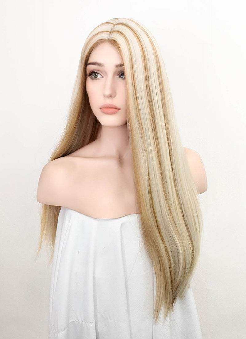 Mixed Platinum Blonde Straight Synthetic Wig NL004