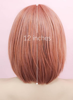 Rose Pink Straight Bob Synthetic Wig NS036 - Wig Is Fashion